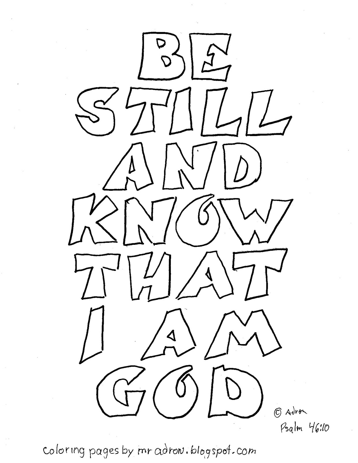 Coloring pages god ~ Coloring Pages for Kids by Mr. Adron: Psalm 46:10 Coloring ...