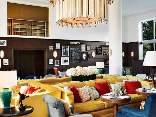 soho miami beach martin brudnizki lobby interior studio mid century hotel modern decor project seating area designer florida twist london