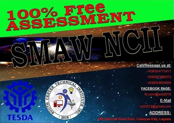 SMAW NC I, NC II and Assessment of Smaw II  (FREE TRAINING)