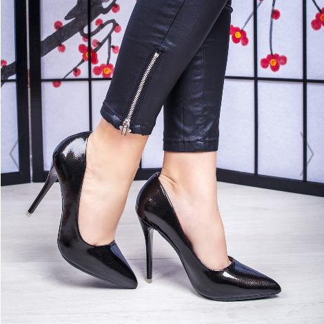 Pantofi dama cu toc gri inchis eleganti de ocazii din piele lacuita eco