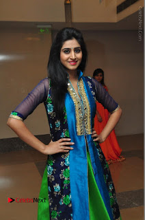 Actress Model Shamili Sounderajan Pos in Desginer Long Dress at Khwaaish Designer Exhibition Curtain Raiser  0033.JPG