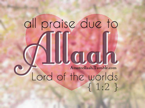 all praise due to Allah Lord of the world - Quote