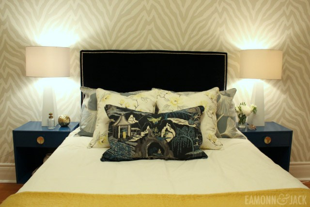 One room challenge bedroom reveal with Etosha wallpaper
