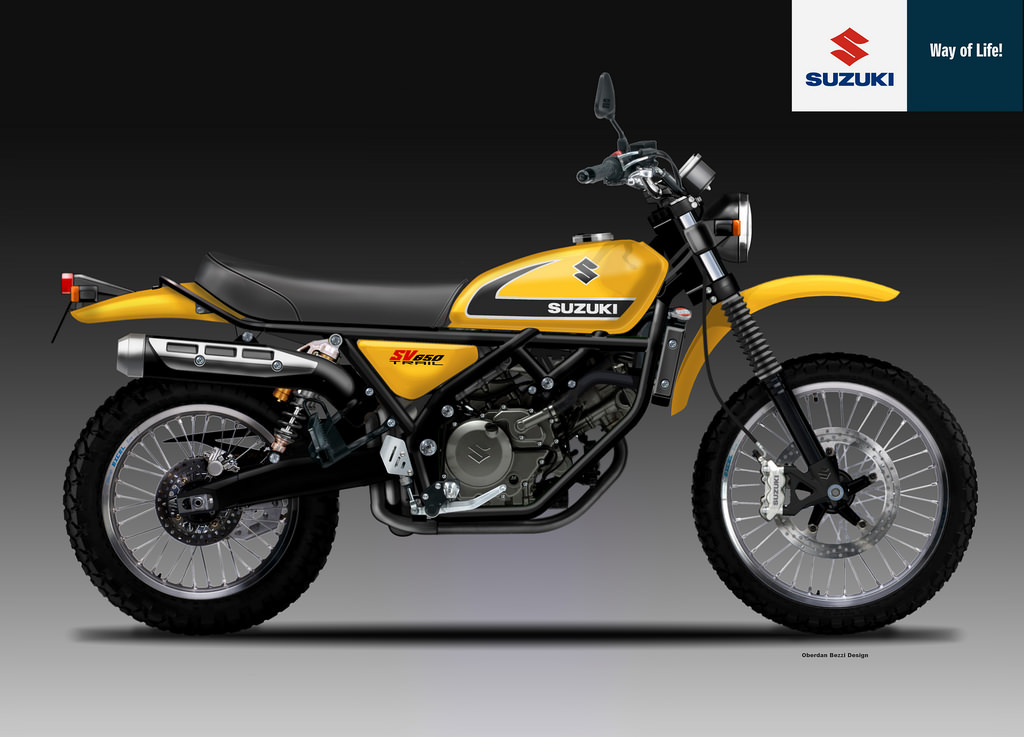 racing caf design corner suzuki sv 650 trail yellow weapon series by oberdan bezzi. Black Bedroom Furniture Sets. Home Design Ideas