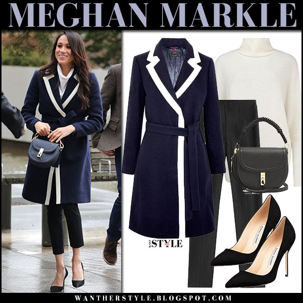 Meghan Markle in navy white stripe coat j.crew, cropped pants and black pumps manolo blahnik royal family fashion march 8