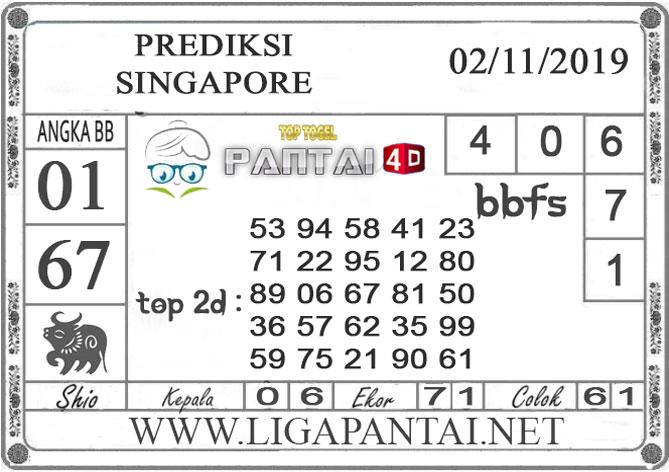"""PREDIKSI TOGEL """"SINGAPORE"""" PANTAI4D 02 NOVEMBER 2019"""
