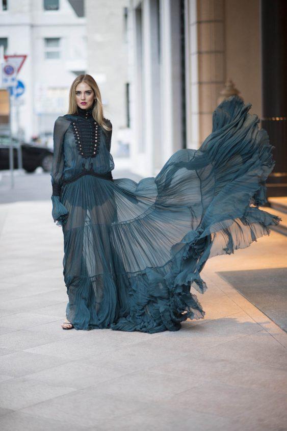 turquoise sea gown by roberto cavalli | blogger style chiara ferragni