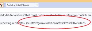 Open URLs in the error/warning description