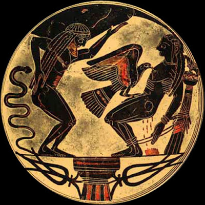 Greek pottery, 550 BCE, Prometheus is on the right,  being punished after stealing fire from the Gods so that he could give it to humans.