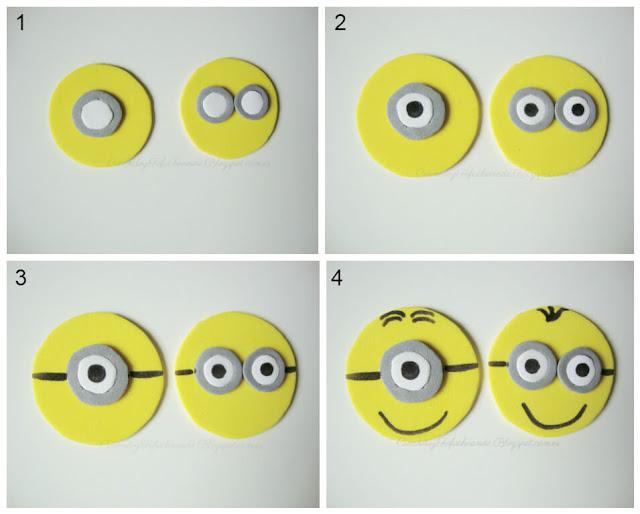 pasos para hacer las fichas del 3 en raya de minions en goma eva