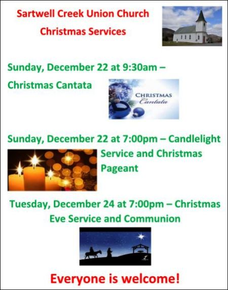 12-22/25 Christmas Services at Sartwell Creek Union Church
