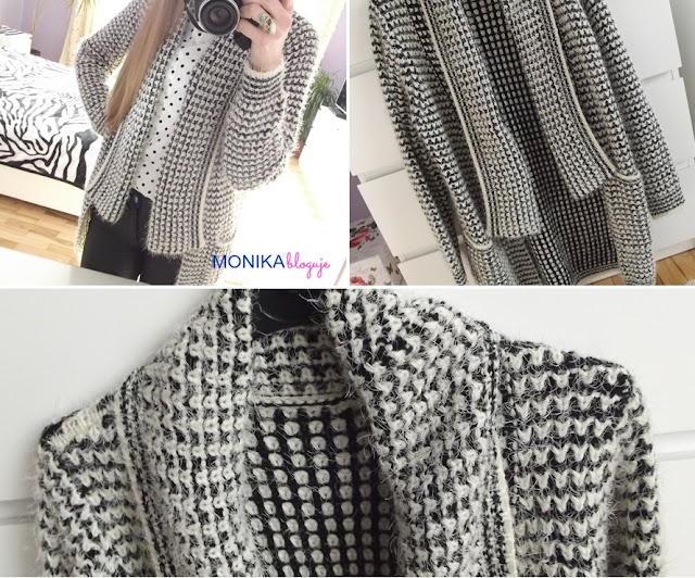 Grey Long Sleeve Lapel Knit Cardigan