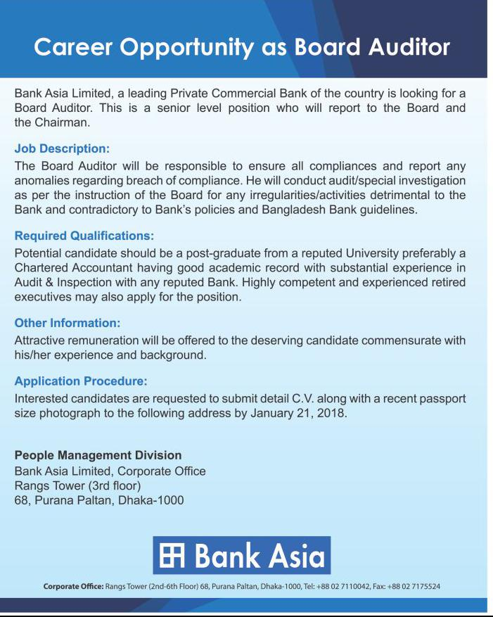 Bank Asia Limited Job ‍Apply Instruction, Application Fee, Payment Process, Salary, Age and Other Information