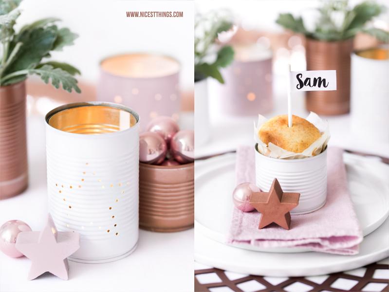 Tischdeko Weihnachten Diy Dosen Windlicht In Weiss Rosa Kupfer