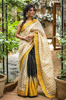Beautiful Dusky Indian Model Girl In Half And Half Style Indian Saree. This Black And Yellow Color Combination In Saree Gives Enough Edge While On The Other Side Soft Squares Take Care Of Elegance One Needs.