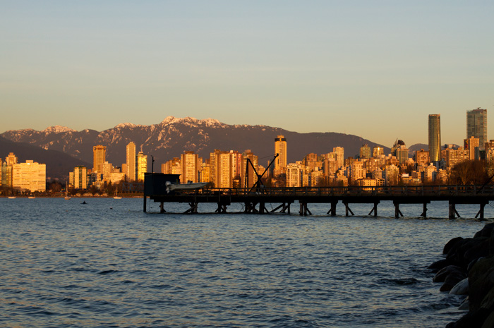 Sunset over Vancouver from Kits beach
