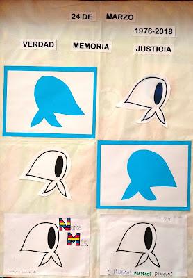Producción colaborativa realiza por alumnos con diferentes formas y colores de pañuelos de las Madres de la Plaza