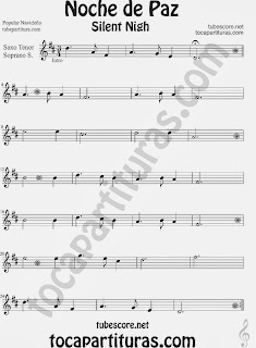 Christmas Song SILENT NIGH Sheet Music for Soprano Sax and Tenor Saxophone Music Scores