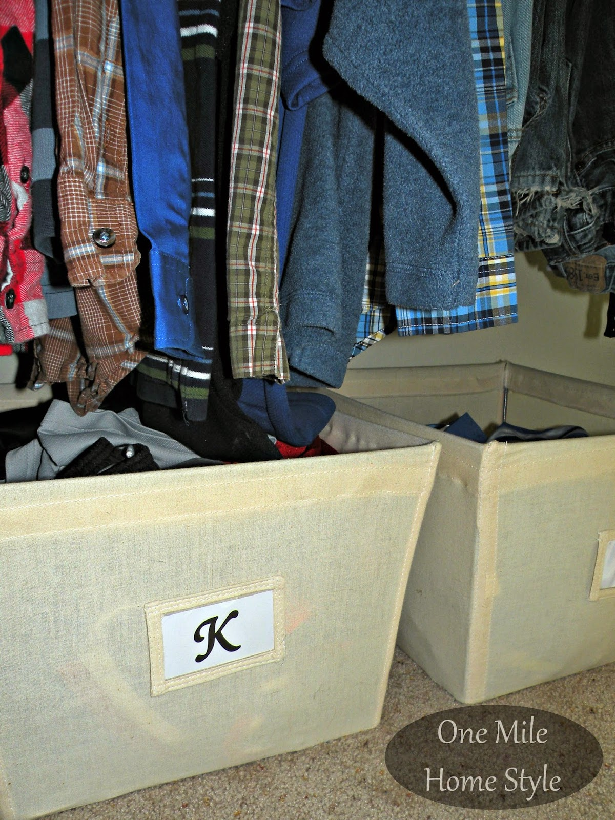 Canvas bins to organize athletic shorts and pants