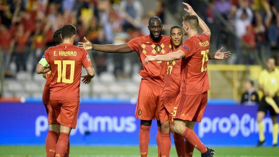 Belgium Romelu Lukaku celebrates his Goal agaimst Switzerland