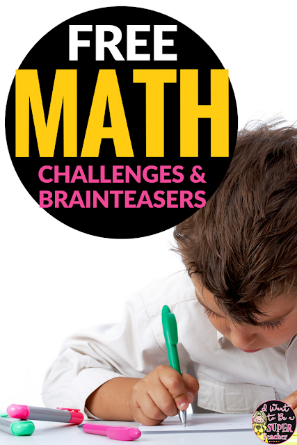 These free math challenge and brain teaser activities for elementary students can be used for centers, weekly challenges, small groups, or whole class problem solving. Fun for kids and easy for teachers! Perfect for 2nd and 3rd grade.