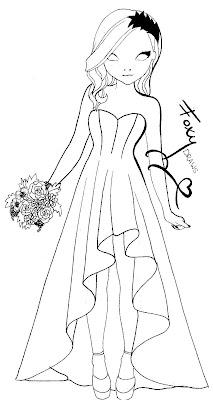 topmodel malen : ausmalbild hochzeitskleid topmodel