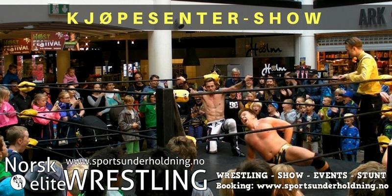 Kjøpesenter-show. Underholdning for kjøpesentre i Norge. Artister, artistbooking, booking. Norsk wrestling. Foto.