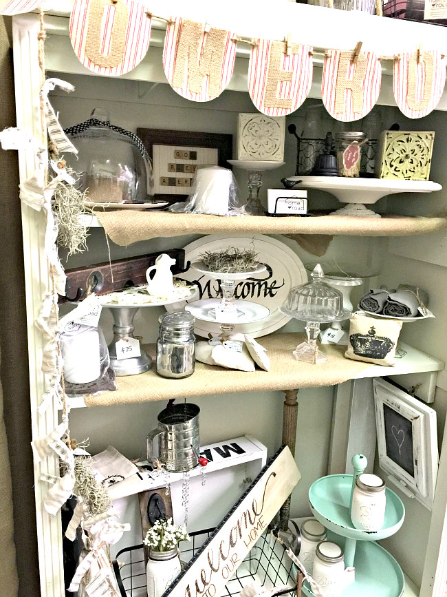 Display cabinet for farmhouse items
