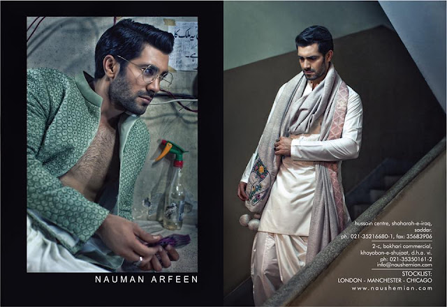 menswear designer nauman arfeen for diva magazine 2016 featuring model shahzad noor photographed by ayaz anis and makeup by omayr waqar. Desi mens fashion style shoot
