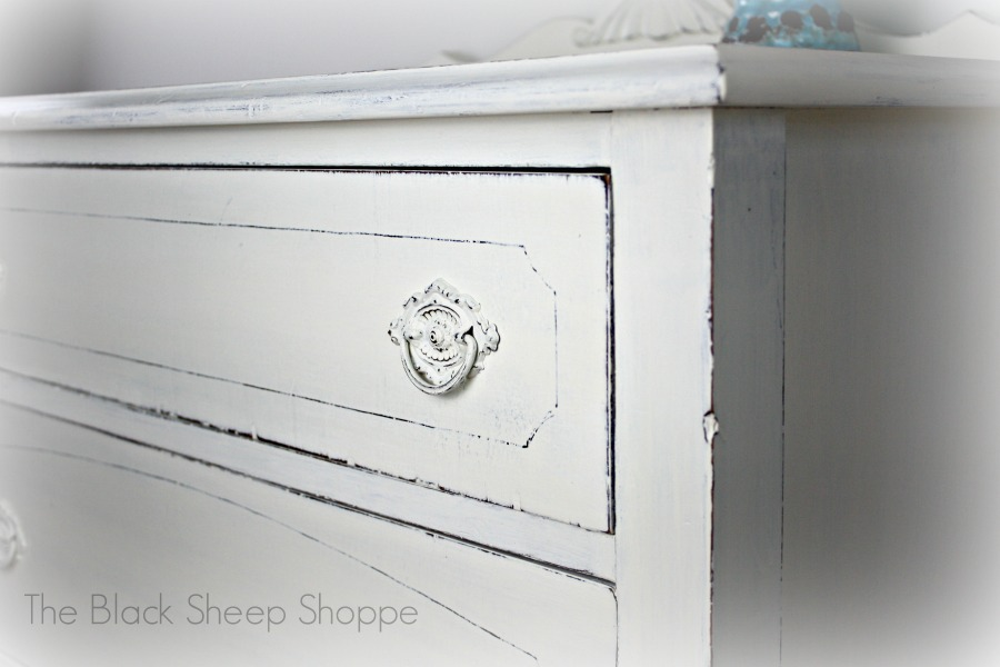 Vintage dresser painted in Annie Sloan Chalk Paint Old White.