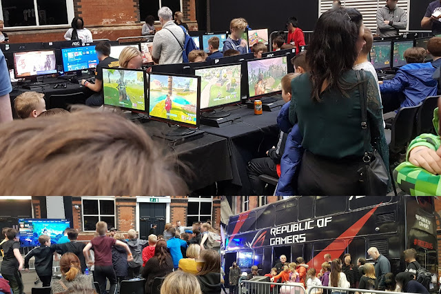Digital Kids Show 2018 gaming opportunities collage with tables and screens