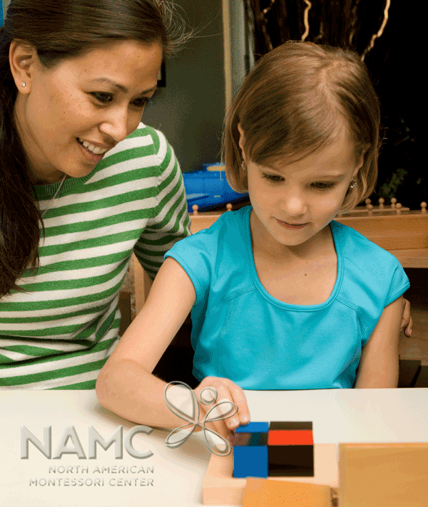 montessori abstract materials to concrete: binomial cube. girl and teacher working with cube