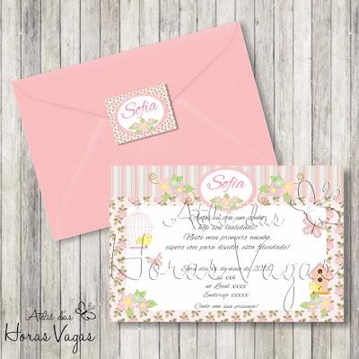 convite aniversário infantil personalizado jardim encantado floral delicado rosa vintage passarinho borboleta festa 1 aninho menina bebê envelope adesivo tag