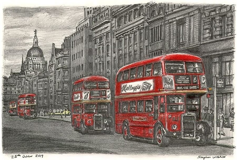 06-Fleet-Street-RTW-buses-Stephen-Wiltshire-Urban-Cityscapes-www-designstack-co