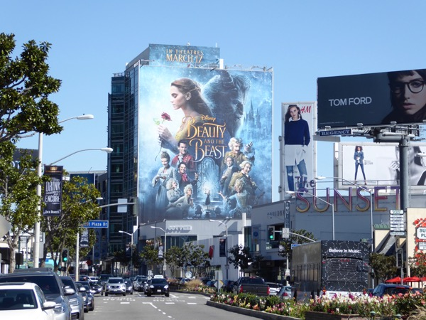 Giant Disney Beauty and the Beast movie billboard
