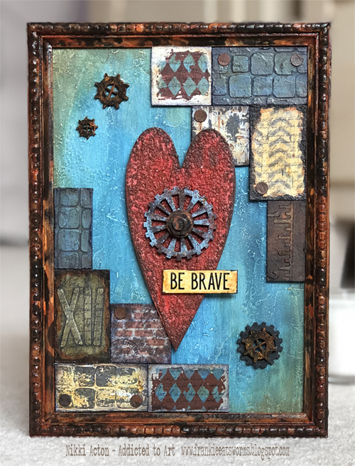 Industrial patchwork framed heart by Nikki Acton