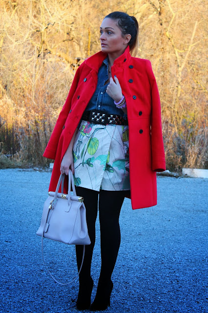 Zara red coat, H&M skirt, studded belt