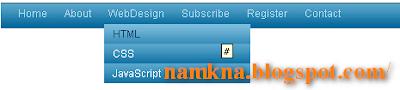 CSS Horizontal Navigation Menu For Bloggers/Websites - Menu DropDown 1 cấp cho blogspot Style7