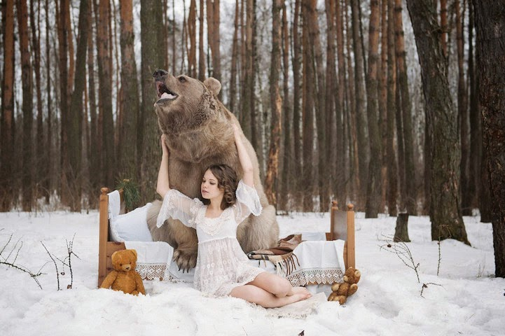 model posing with real animals