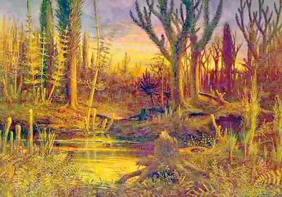 ilustrasi keadaan bumi masa paleozoikum