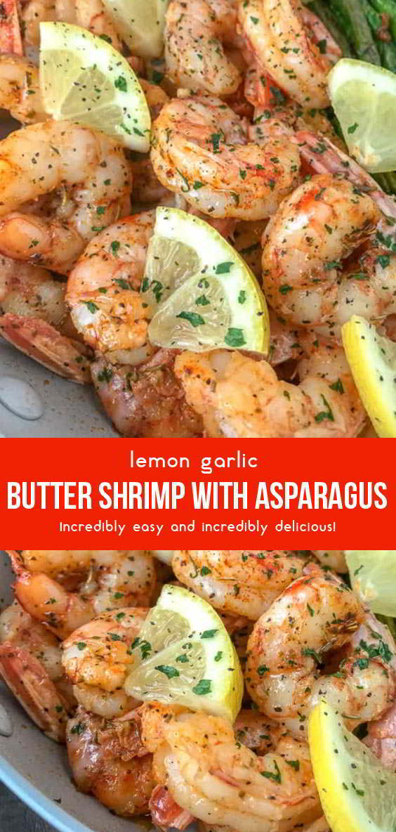 Lemon Garlic Butter Shrimp With Asparagus #seafoodrecipes #seafoods #dinnerrecipes #dinnerideas #healthydinnerrecipes