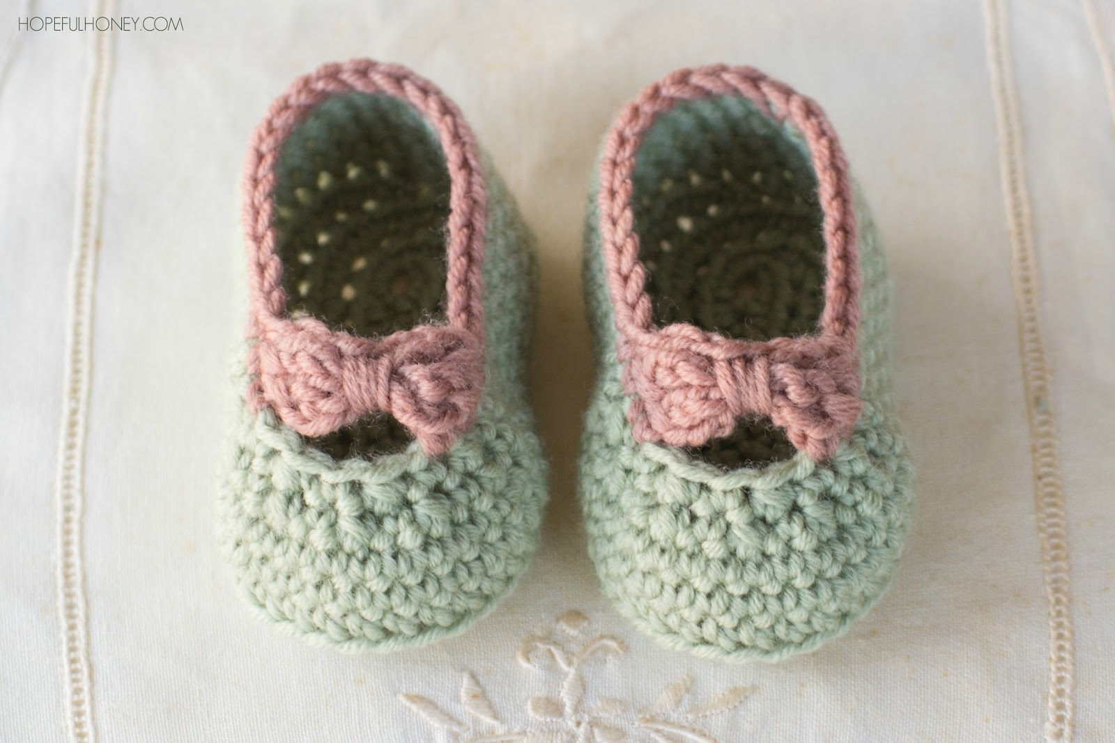 Free Crochet Pattern Of Baby Booties : Hopeful Honey Craft, Crochet, Create: Little Lady Baby ...