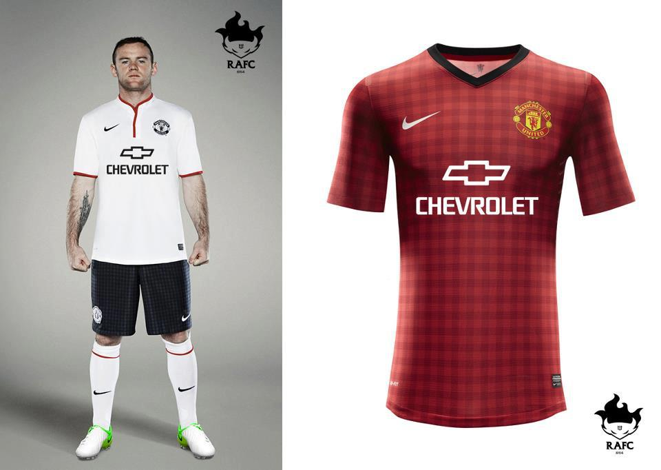 Closeup with new Chevrolet sponsored Manchester United Home Kit
