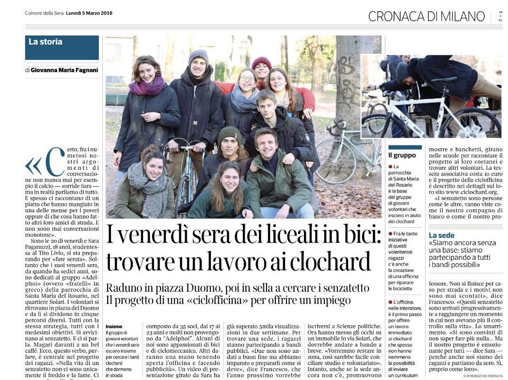 Ciclochard Corriere della Sera
