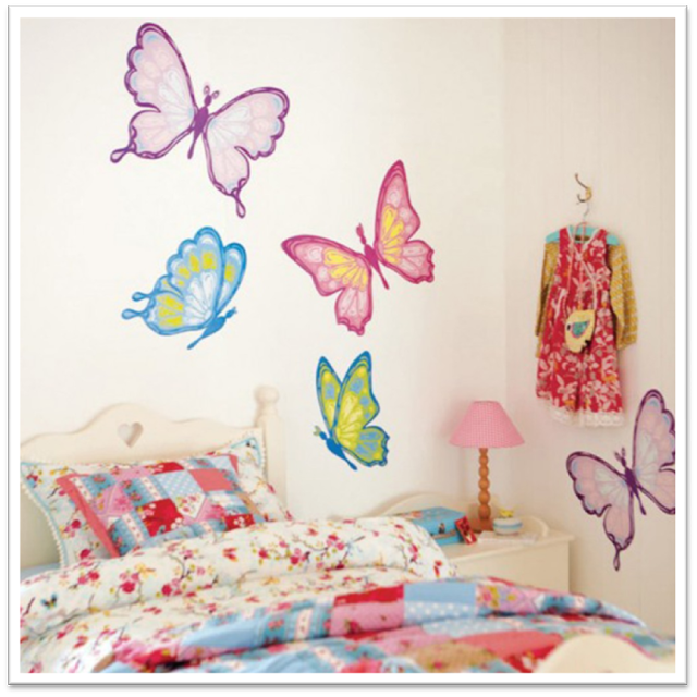 Dormitorios con mariposas for Decoracion para pared fucsia