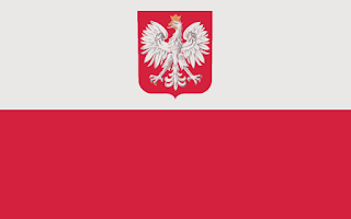 The flag of Poland, consisting of two wide horizontal stripes with the Polish coat of arms in the top stripe. The top stripe is white and the bottom stripe is red. The coat of arms includes a white eagle with a gold crown on a red shield.