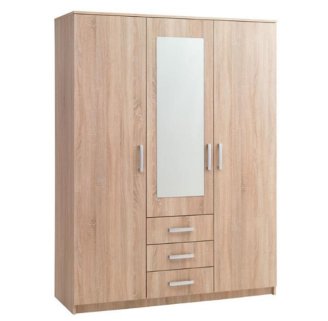 desain lemari pakaian minimalis modern 3 pintu untuk ruangan kecil