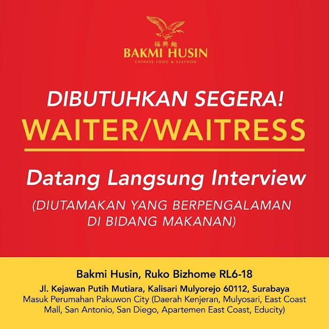 lowongan kerja waiter Bakmi Husin Surabaya