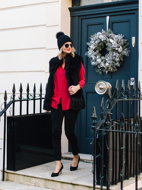 me and em, festive styling, christmas wardrobe essentials, shearling gilet, faux fur gilet, red silk shirt, suede pants, london street style