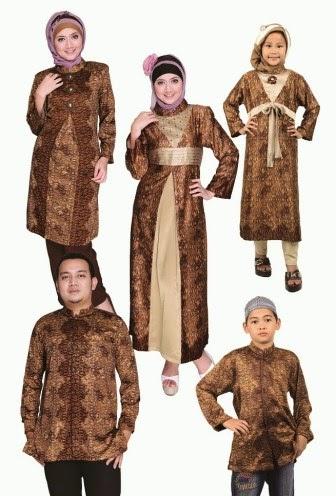 Model baju batik muslim keluarga yang serasi